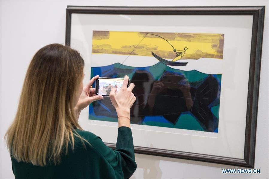 A visitor takes a photo of a creation during an exhibition \