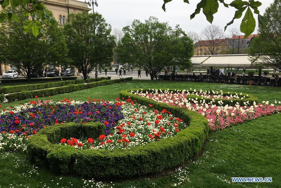 Photo taken on April 10, 2019 shows a garden in downtown Zagreb, capital of Croatia. (Xinhua/Zheng Huansong)