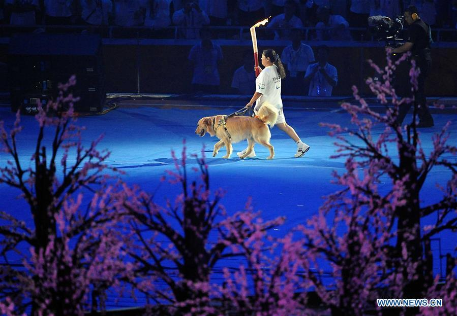 File photo taken on Sept. 6, 2008 shows Torchbearer Ping Yali, the first Chinese Paralympic gold medalist in 1984, relays with a guide dog during the opening ceremony of the Beijing 2008 Paralympic Games in the National Stadium in Beijing, China. From sending athletes to Helsinki Summer Olympic Games for the very first time in 1952 to winning the bid to host 2022 Winter Olympic Games in 2015, the People\'s Republic of China went through a remarkable history of sports, including successfully hosting the 2008 Summer Olympic Games and preparing for the upcoming 2022 Winter Olympic Games. (Xinhua/Wang Song)
