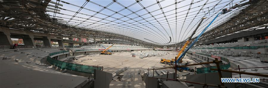 Photo taken on April 8, 2019 shows the construction site of the National Speed Skating Oval, the venue for speed skating events at the 2022 Winter Olympic Games, in Beijing, China. (Xinhua/Xu Zijian)