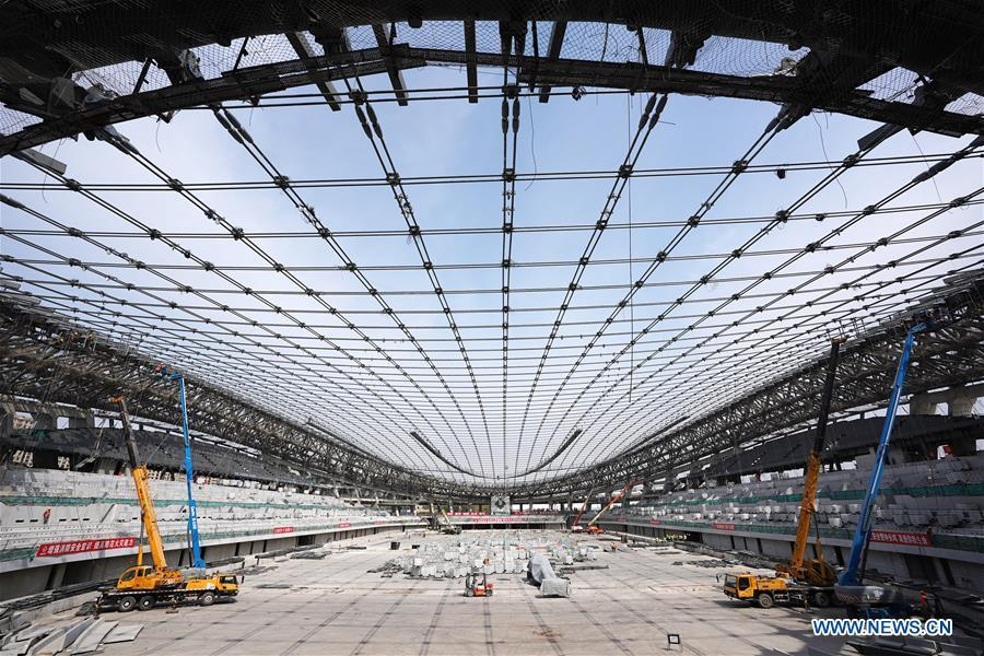 Photo taken on April 8, 2019 shows the construction site of the National Speed Skating Oval, the venue for speed skating events at the 2022 Winter Olympic Games, in Beijing, China. (Xinhua/Ju Huanzong)