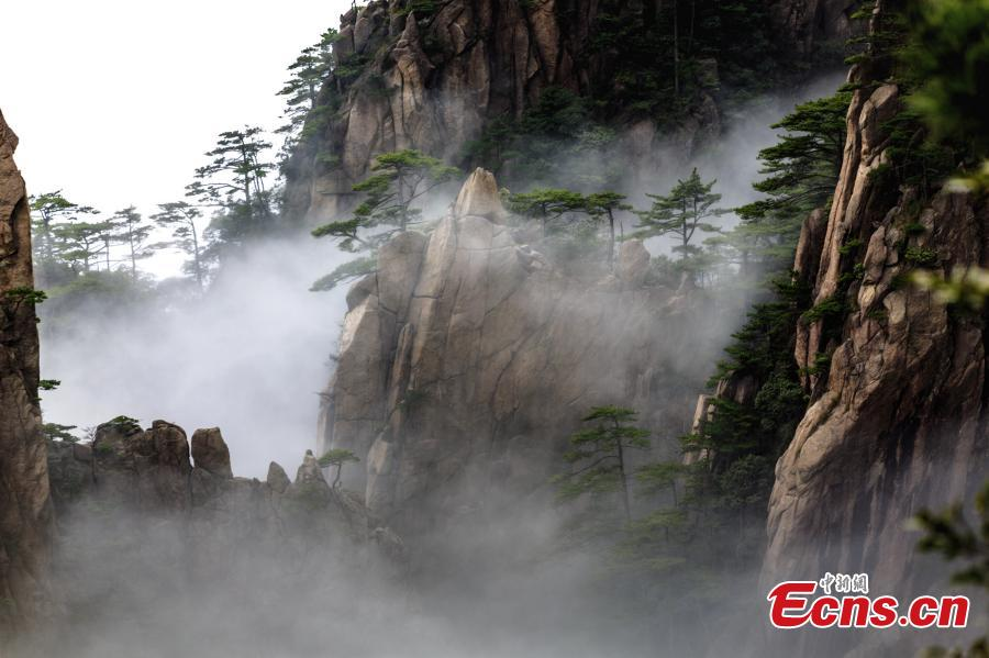 After rain, clouds surround the Xihai Grand Canyon, a sight-seeing spot on Mount Huang in Anhui Province, April 11, 2019. The mountain is a UNESCO World Heritage site, and one of China\'s major tourist destinations. (Photo: China News Service/Ye Yongqing)