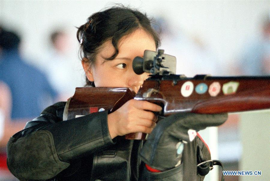 File photo taken on August 2, 1984 shows that China\'s first-ever female Olympic gold medalist Wu Xiaoxuan competes in the women\'s small-bore standard rifle shooting, three positions at the 23rd Olympic Games in Los Angeles, the United States. From sending athletes to Helsinki Summer Olympic Games for the very first time in 1952 to winning the bid to host 2022 Winter Olympic Games in 2015, the People\'s Republic of China went through a remarkable history of sports, including successfully hosting the 2008 Summer Olympic Games and preparing for the upcoming 2022 Winter Olympic Games. (Xinhua)