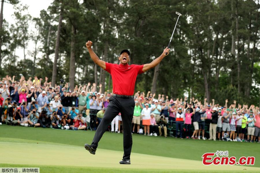 Tiger Woods celebrates after winning the 2019 Masters Tournament at Augusta National Golf Club in Augusta, Georgia, on April 14, 2019.  (Photo/Agencies)