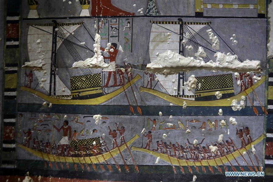 Photo taken on April 13, 2019 shows the paintings in a tomb in Saqqara, Egypt. Egyptian Ministry of Antiquities opened on Saturday a tomb of a Fifth Dynasty dignitary which was discovered recently at Saqqara Necropolis near the Giza pyramids. Minister of Antiquities Khaled al-Anany, along with 52 ambassadors and cultural attaches of foreign, Arab and African countries, toured Saqqara Necropolis to inspect the tomb of Khuwy, who lived at the end of the Fifth Dynasty of the Old Kingdom. The Old Kingdom of Egypt is the period spanning 2686 BC to 2181 BC, which is also known as the Age of the Pyramids. (Xinhua/Ahmed Gomaa)