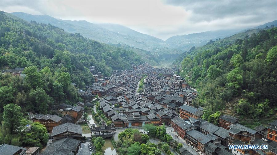 Aerial photo taken on April 14, 2019 shows the Dong village of Zhaoxing, Liping County, southwest China\'s Guizhou Province. (Xinhua/Ou Dongqu)
