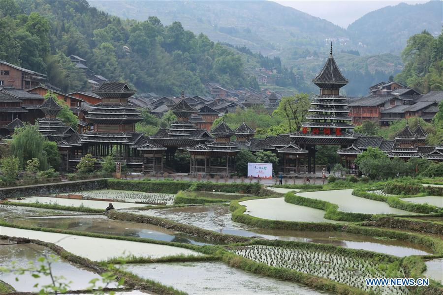 Photo taken on April 14, 2019 shows the Dong village of Zhaoxing, Liping County, southwest China\'s Guizhou Province. (Xinhua/Ou Dongqu)