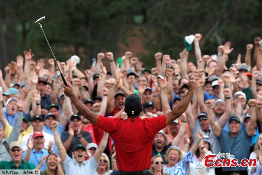 The patrons roar as Tiger Woods sinks his par putt to win the Masters at Augusta National Golf Club in Augusta, Georgia, on April 14, 2019. (Photo/Agencies)