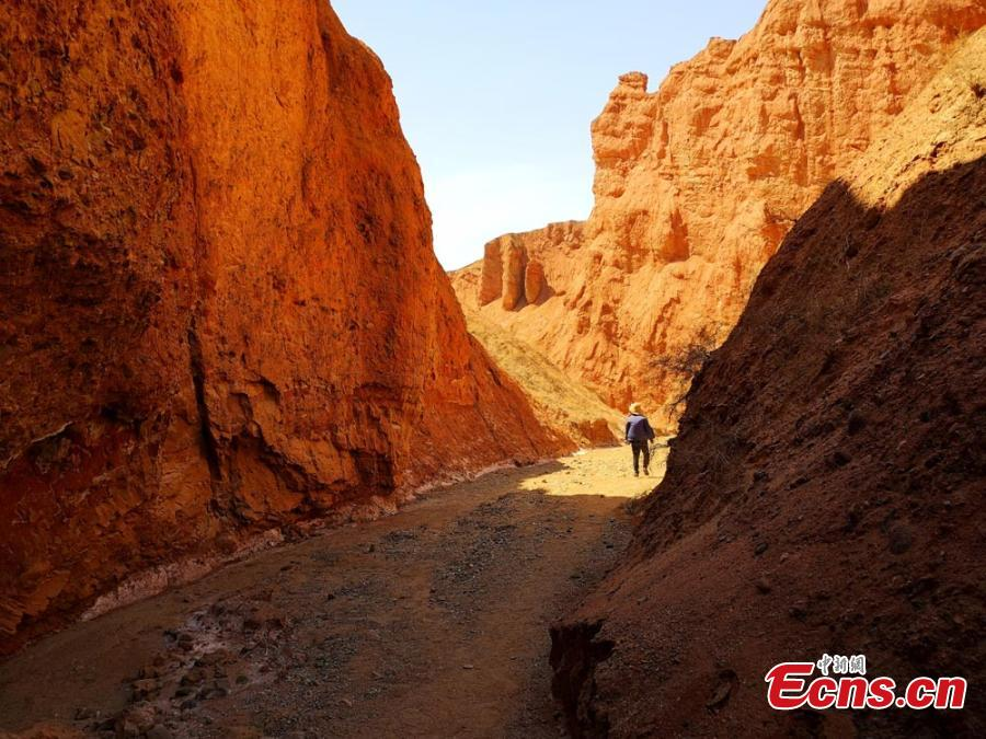 Photo taken on April 14, 2019 shows a view of Danxia landform at Danxia National Geological Park in Zhangye, northwest China\'s Gansu Province. Danxia landform is an unique type of geomorphology formed from red-colored sandstones and characterized by steep cliffs. (Photo/China News Service)