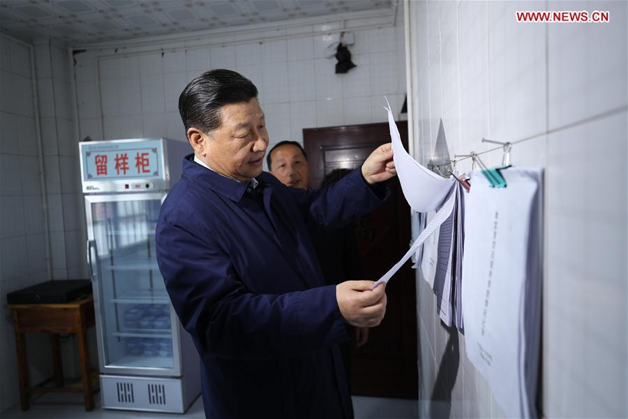 Chinese President Xi Jinping, also general secretary of the Communist Party of China Central Committee and chairman of the Central Military Commission, learns about a mechanism requiring school officials to dine with students at a primary school in Zhongyi Township of Shizhu Tujia Autonomous County, southwest China\'s Chongqing, April 15, 2019. Xi went on an inspection tour in southwest China\'s Chongqing Municipality Monday. (Xinhua/Ju Peng)