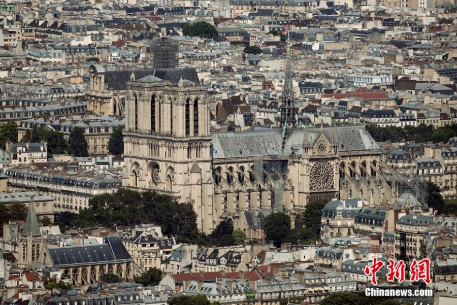 Aerial photo shows the view of the Notre-Dame Cathedral in Paris. (Photo/Agencies)