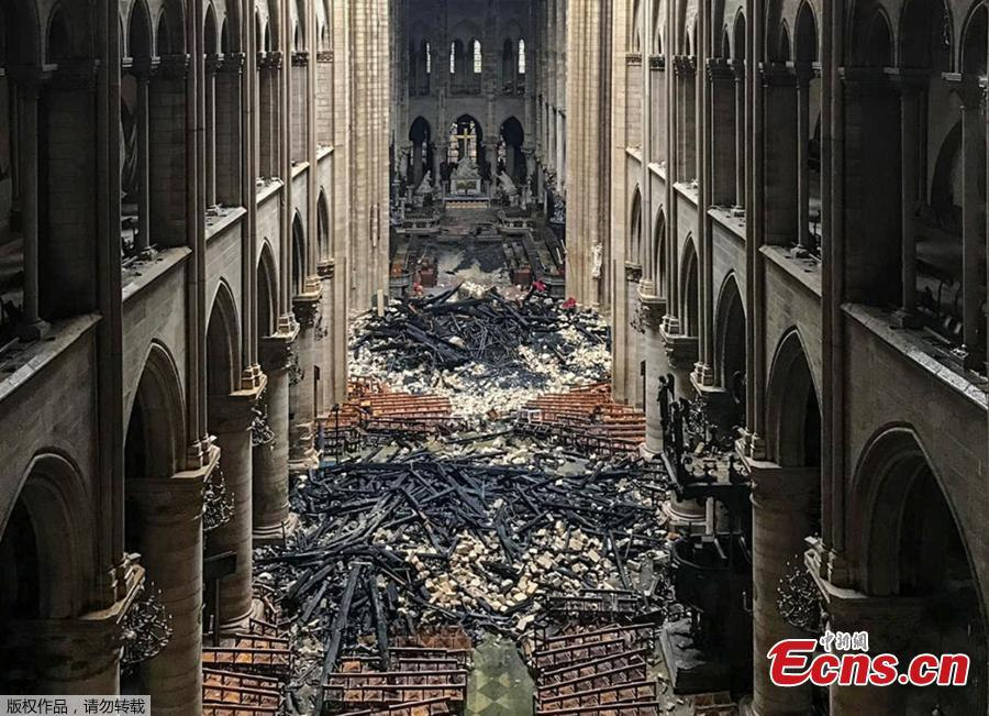 Photo taken on April 16, 2019 shows an interior view of the Notre-Dame Cathedral in Paris in the aftermath of a fire that devastated the cathedral. (Photo/Agencies)