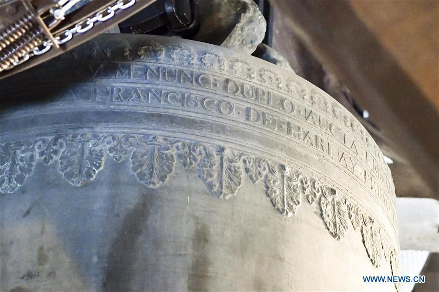 File photo taken on June 30, 2017 shows a bell inside the Notre Dame Cathedral in Paris, France. The devastating fire at Notre Dame Cathedral in central Paris has been put out after burning for 15 hours, local media reported on April 16, 2019. In early evening on April 15, a fire broke out in the famed cathedral. Online footage showed thick smoke billowing from the top of the cathedral and huge flames between its two bell towers engulfing the spire and the entire roof which both collapsed later. Notre Dame is considered one of the finest examples of French Gothic architecture which receives about 12 million visitors every year. (Xinhua/Chen Yichen)