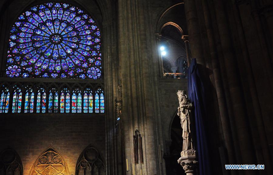 File photo taken on Oct. 11, 2013 shows the interior of the Notre Dame Cathedral in Paris, France. The devastating fire at Notre Dame Cathedral in central Paris has been put out after burning for 15 hours, local media reported on April 16, 2019. In early evening on April 15, a fire broke out in the famed cathedral. Online footage showed thick smoke billowing from the top of the cathedral and huge flames between its two bell towers engulfing the spire and the entire roof which both collapsed later. Notre Dame is considered one of the finest examples of French Gothic architecture which receives about 12 million visitors every year. (Xinhua/Liu Xiao)