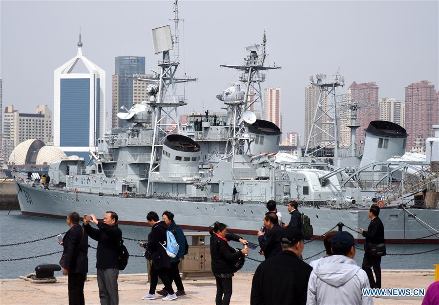 People visit the Chinese Navy Museum in Qingdao, east China\'s Shandong Province, April 16, 2019. (Xinhua/Li Ziheng)