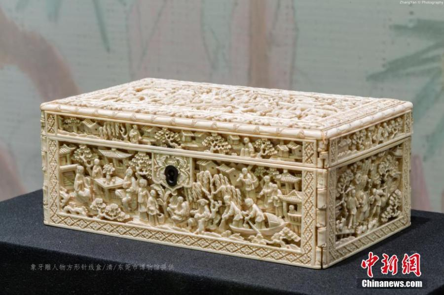 Ivory carvings are on display at an exhibition in Jinsha Site Museum in Chengdu City, Sichuan Province, April 16, 2019. The exhibition showed more than 100 ivory carvings made in the Ming (1368-1644) and Qing (1644-1911) dynasties from the collections of six state-owned museums. (Photo provided to China News Service)