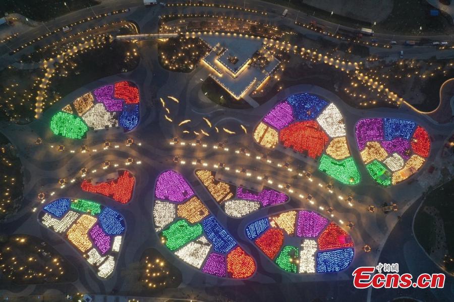 The lights are tested at the site of the 2019 Beijing International Horticultural Exhibition in Beijing in this aerial photo taken on April 16, 2019. Set to kick off on April 29, the 162-day expo is poised to impress an estimated 16 million visitors from home and abroad with a huge collection of plants, flowers and eye-catching pavilions as well as ideas for green development. (Photo/IC)