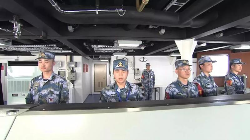 Navy soldiers work on China\'s first domestically made aircraft carrier. (Photo/CCTV)