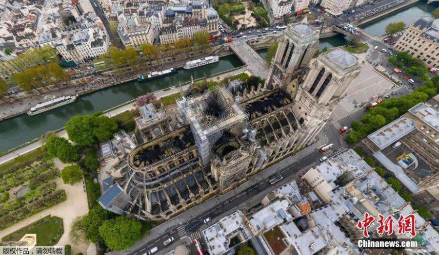 Aerial image shows the tragic extent of the damage caused to Paris\' iconic Notre Dame Cathedral, ravaged by a massive blaze on Monday night, April 17, 2019. (Photo/Agencies)