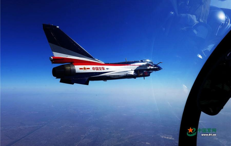 A J-10 jet moves towards a designated grid on April 10, 2019.  (Photo/81.cn)