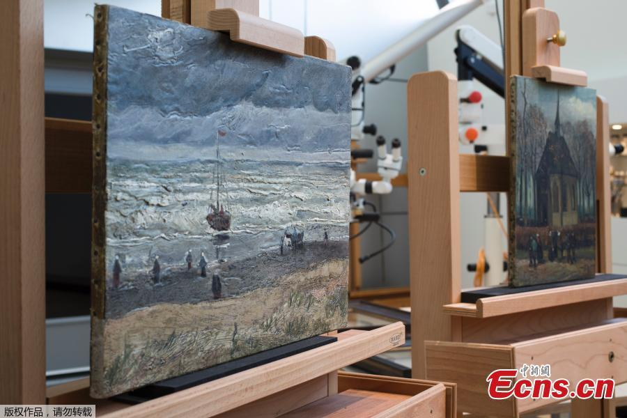 Photo taken on April 17, 2019 shows two recently recovered stolen paintings by late Dutch artist Vincent Van Gogh. (Photo/IC)