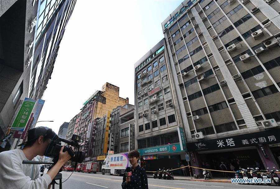 Buildings slightly lean after a 6.7-magnitude earthquake jolted a sea area near Hualien County in Taiwan on April 18, 2019. A 6.7 magnitude earthquake jolted a sea area near Hualien County in Taiwan at 1:01 p.m. Thursday, according to the China Earthquake Networks Center (CENC). The epicenter was monitored at 24.02 degrees north latitude and 121.65 degrees east longitude, at a depth of 24 km, the center said. No immediate casualties were reported. (Xinhua/Zhang Guojun)