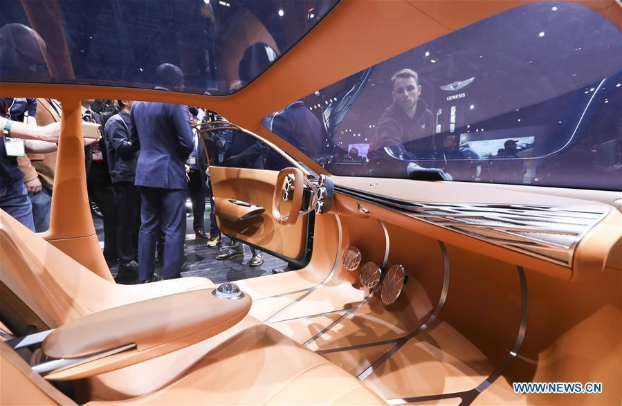 The interior of Genesis Mint, an all-new concept electric car, is seen during the media preview of the 2019 New York International Auto Show in New York, the United States, April 17, 2019. The 2019 New York International Auto Show will be open to public on Friday. (Xinhua/Wang Ying)