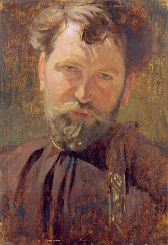 The artist\'s self-portrait from 1899(oil on board).(Photo provided to China Daily)  \
