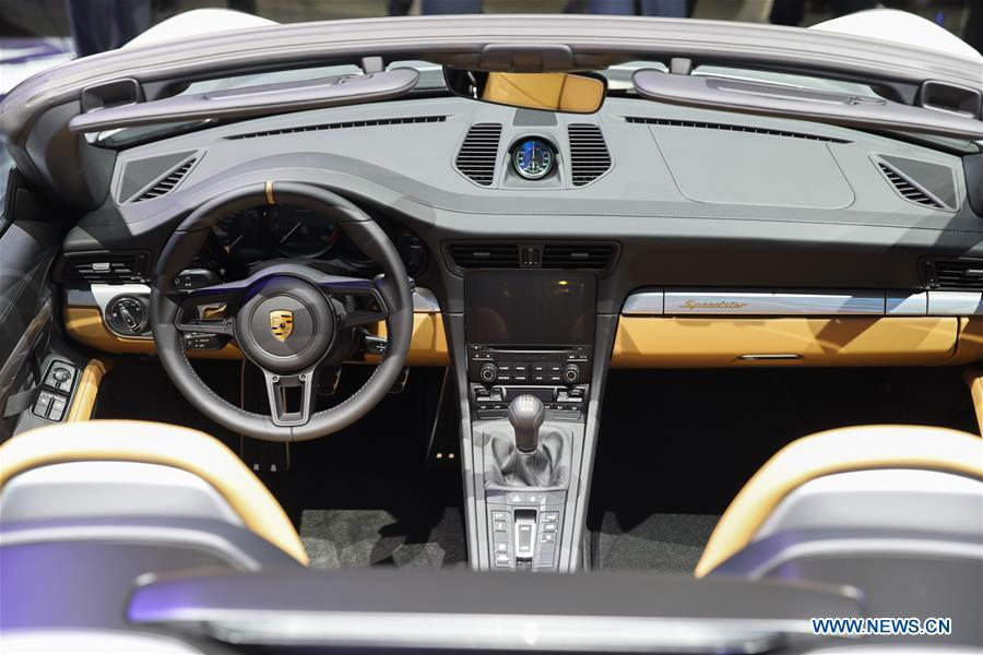 Porsche 911 Speedster is seen during the media preview of the 2019 New York International Auto Show in New York, the United States, April 17, 2019. The 2019 New York International Auto Show will be open to public on Friday. (Xinhua/Wang Ying)