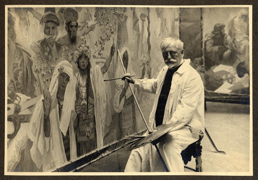 Mucha working on The Coronation of the Serbian Tsar Stepan Dusan as East Roman Emperor in 1924. (Photo provided to China Daily)  Mucha\'s love for peace and his nation are also illustrated in the triptych project he embarked on in his final years. The work comprises The Age of Reason, The Age of Wisdom and The Age of Love. However, Mucha was unable to complete these works as he was arrested by Nazi troops. He died in 1939, four months after the German invasion of the former Czechoslovakia.  Mucha\'s family was permitted to hold a funeral for him, but on the condition that only his family members would attend. Such was the artist\'s fame that over 100,000 people turned up to bid him farewell.  \