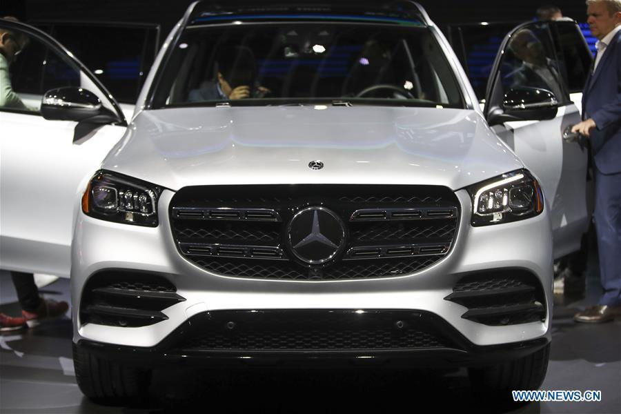 The new Mercedes-Benz GLS is seen during the media preview of the 2019 New York International Auto Show in New York, the United States, April 17, 2019. The 2019 New York International Auto Show will be open to public on Friday. (Xinhua/Wang Ying)