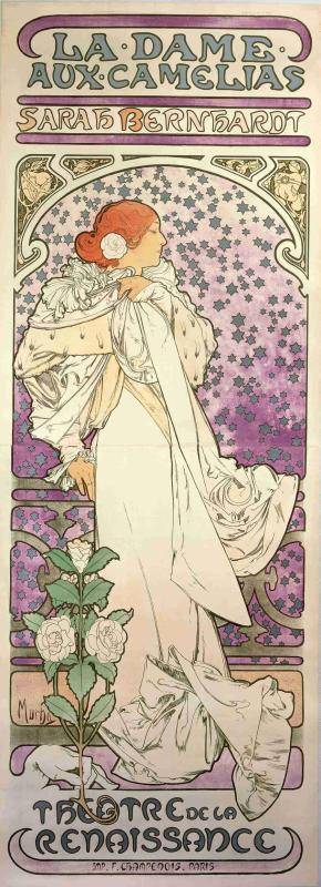 A poster for La Dame aux Camelias from 1896(color lithograph). (Photo provided to China Daily)  As part of the contract, Mucha produced six more posters for her productions, including La Dame aux Camelias and Lorenzaccio, which are also being displayed at the exhibition.  \