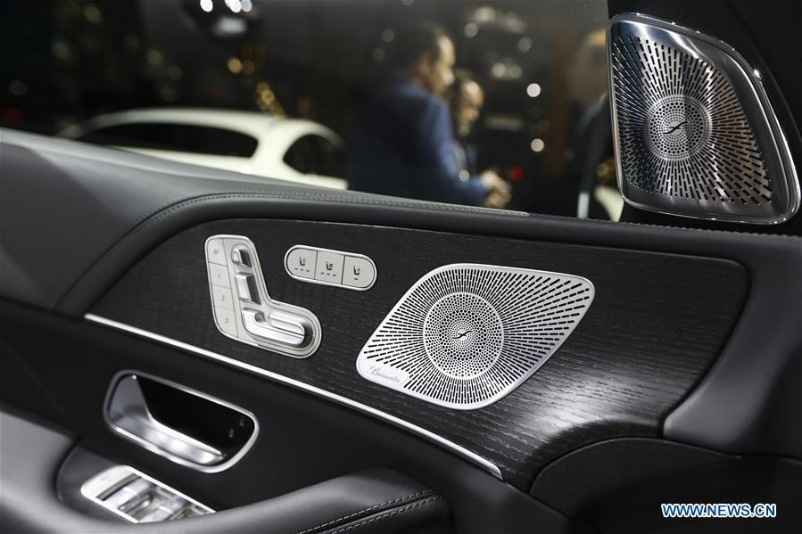 The interior of new Mercedes-Benz GLS is seen during the media preview of the 2019 New York International Auto Show in New York, the United States, April 17, 2019. The 2019 New York International Auto Show will be open to public on Friday. (Xinhua/Wang Ying)