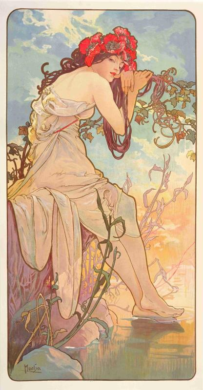 The Seasons: Summer from 1896(color lithograph). (Photo provided to China Daily) A new exhibition in Shanghai commemorates Alphonse Mucha\'s greatest creations and explores the motivations behind his pieces.  Celebrated Czech artist Alphonse Mucha\'s art collection is now being showcased at the Pearl Art Museum in Shanghai, featuring over 230 original works of art by the maestro, the biggest ever Mucha exhibition in China, according to the organizers.  Held through July 21, the Mucha exhibition is jointly curated by the Pearl Art Museum and the Mucha Foundation in Prague. According to the organizers, the Shanghai exhibition showcases an even greater number of works compared to the previous exhibition in Paris last year.  Besides his famous Art Nouveau posters, decorations and jewelry, the exhibition also features Mucha\'s drawings, paintings, photographs, book designs and personal belongings. Some of the works are being displayed for the first time.