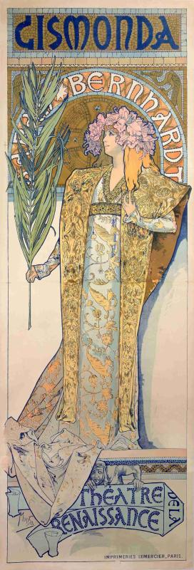 A poster for Gismonda from 1894(color lithograph). (Photo provided to China Daily)  Born in 1860 in Ivancice in the south Moravian region of the Czech Republic, Mucha rose to fame in the late 19th century for designing theatrical posters for Sarah Bernhardt, France\'s most famous actress at the time. The color lithograph poster Gismonda, which can be found in the Shanghai exhibition, is one of his most recognized works about the actress.  Marcus Mucha, Mucha\'s great grandson and the representative of the Mucha Foundation, shared a story he heard from his family during his recent visit to the exhibition.  He recalled that it was around Christmas in 1894 when Bernhardt asked her printer to create a new poster for her, but as all her regular poster artists in France were on vacation, she was forced to turn to Mucha who later created Gismonda for her.  Gismonda appeared all over Paris on the first day of 1895 and it went on to become an instant hit. The work resulted in Bernhardt offering Mucha a six-year contract to produce her posters and stage and costume designs.  \