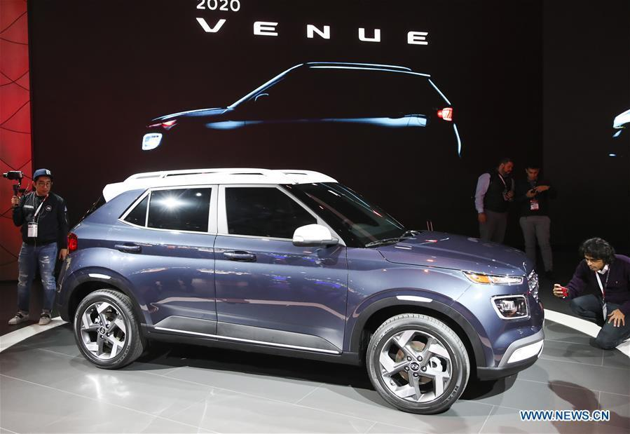 Hyundai\'s all-new 2020 Venue is seen during the media preview of the 2019 New York International Auto Show in New York, the United States, April 17, 2019. The 2019 New York International Auto Show will be open to public on Friday. (Xinhua/Wang Ying)