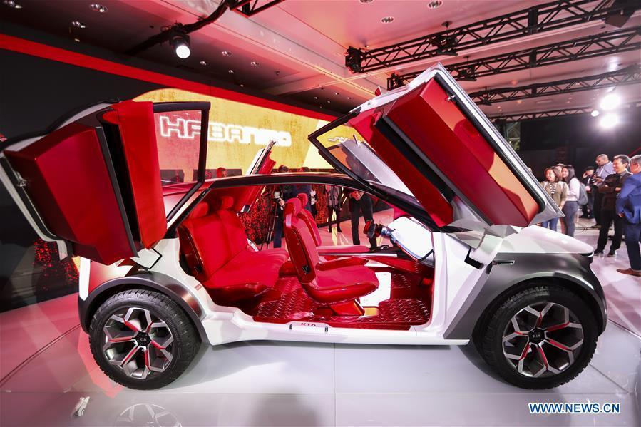 The Kia Habaniro Concept is seen during the media preview of the 2019 New York International Auto Show in New York, the United States, April 17, 2019. The 2019 New York International Auto Show will be open to public on Friday. (Xinhua/Wang Ying)