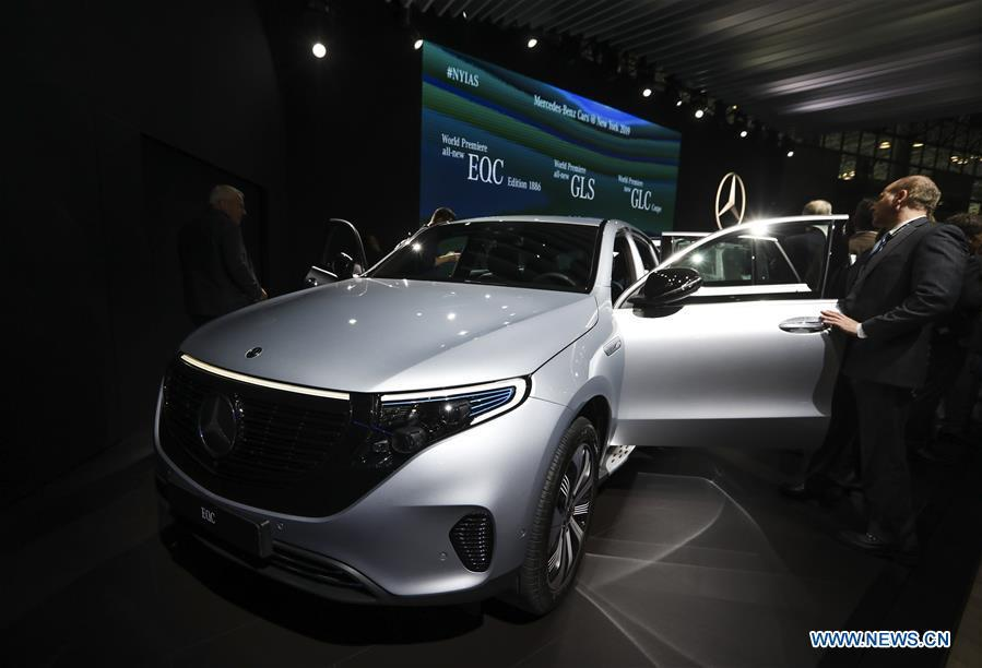 The electronic powered new Mercedes-Benz EQC Edition 1886 is seen during the media preview of the 2019 New York International Auto Show in New York, the United States, April 17, 2019. The 2019 New York International Auto Show will be open to public on Friday. (Xinhua/Wang Ying)