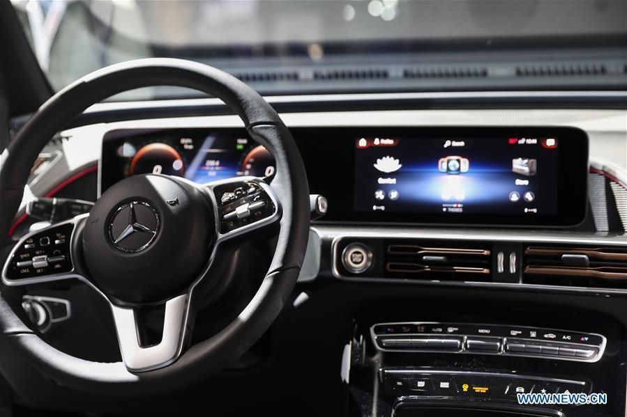 The interior of electronic powered new Mercedes-Benz EQC Edition 1886 is seen during the media preview of the 2019 New York International Auto Show in New York, the United States, April 17, 2018. The 2019 New York International Auto Show will be open to public on Friday. (Xinhua/Wang Ying)