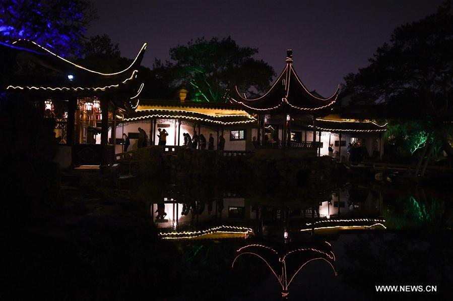 Photo taken on April 18, 2019 shows the night scenery of the Master-of-Nets Garden in Suzhou, east China\'s Jiangsu Province. Suzhou is home to dozens of famous classical gardens that have inventive and exquisite design and oriental aesthetics. Nowadays more than 60 of them are still in existence, among which the Humble Administrator\'s Garden, Lingering Garden and the Lion Grove Garden are on the UNESCO\'s World Heritage List. (Xinhua/Li Xiang)