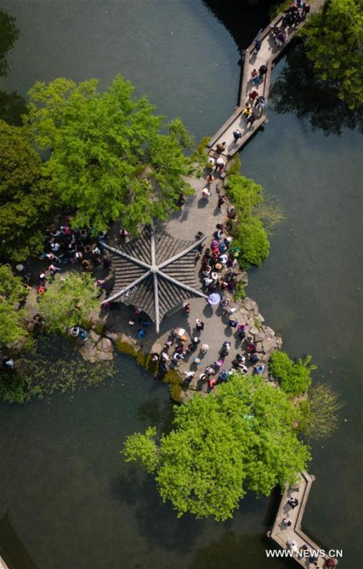 Aerial photo taken on April 17, 2019 shows the scenery of Humble Administrator\'s Garden in Suzhou, east China\'s Jiangsu Province. Suzhou is home to dozens of famous classical gardens that have inventive and exquisite design and oriental aesthetics. Nowadays more than 60 of them are still in existence, among which the Humble Administrator\'s Garden, Lingering Garden and the Lion Grove Garden are on the UNESCO\'s World Heritage List. (Xinhua/Li Xiang)