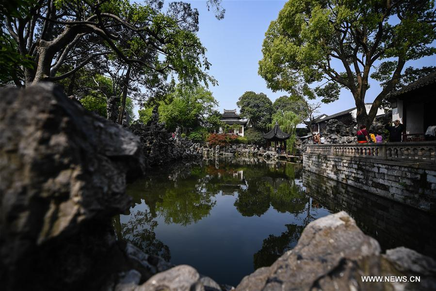 Photo taken on April 17, 2019 shows the Lion Forest Garden in Suzhou, east China\'s Jiangsu Province. Suzhou is home to dozens of famous classical gardens that have inventive and exquisite design and oriental aesthetics. Nowadays more than 60 of them are still in existence, among which the Humble Administrator\'s Garden, Lingering Garden and the Lion Grove Garden are on the UNESCO\'s World Heritage List. (Xinhua/Li Xiang)