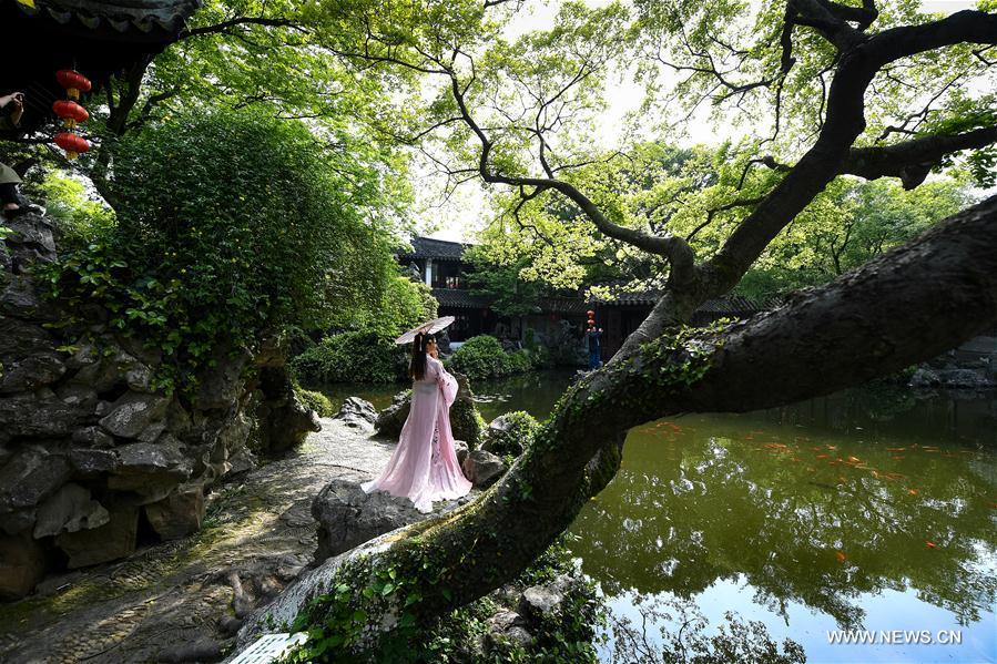 A woman poses for photos at the Retreat &Reflection Garden in Suzhou, east China\'s Jiangsu Province, April 19, 2019. Suzhou is home to dozens of famous classical gardens that have inventive and exquisite design and oriental aesthetics. Nowadays more than 60 of them are still in existence, among which the Humble Administrator\'s Garden, Lingering Garden and the Lion Grove Garden are on the UNESCO\'s World Heritage List. (Xinhua/Li Xiang)