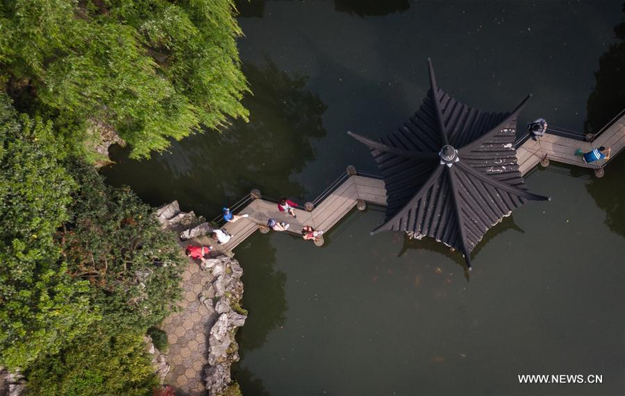 Aerial photo taken on April 17, 2019 shows the scenery of the Lion Forest Garden in Suzhou, east China\'s Jiangsu Province. Suzhou is home to dozens of famous classical gardens that have inventive and exquisite design and oriental aesthetics. Nowadays more than 60 of them are still in existence, among which the Humble Administrator\'s Garden, Lingering Garden and the Lion Grove Garden are on the UNESCO\'s World Heritage List. (Xinhua/Li Xiang)
