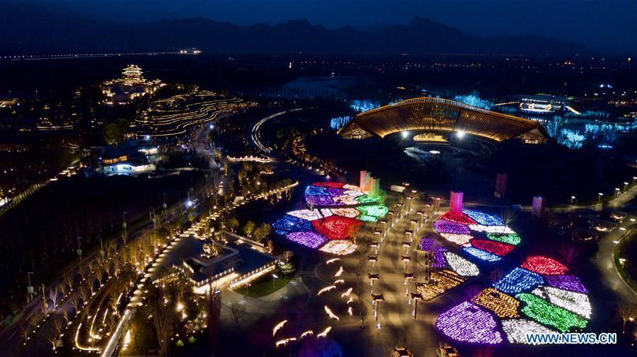 Aerial photo taken on April 19, 2019 shows the night view of the venues of the 2019 Beijing International Horticultural Exhibition (Expo 2019 Beijing) in Yanqing District of Beijing, capital of China. The 2019 Beijing International Horticultural Exhibition is slated to kick off on April 29, 2019. (Xinhua/Hou Dongtao)