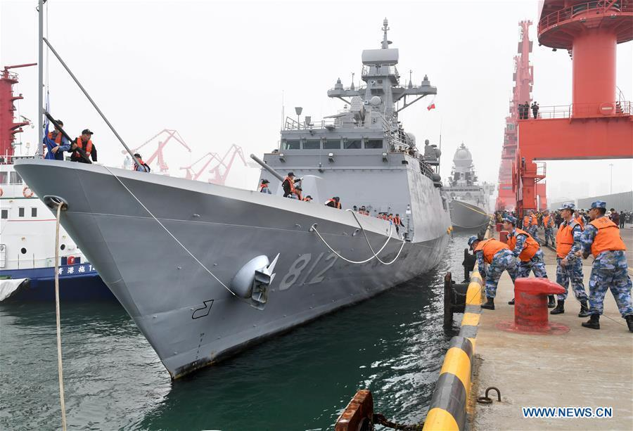 South Korean navy\'s guided missile frigate ROKS Gyeonggi arrives in the port city of Qingdao, east China\'s Shandong Province, April, 21, 2019, to join multinational naval events commemorating the 70th anniversary of the founding of the Chinese People\'s Liberation Army (PLA) Navy. The events will be held between April 22 and 25 and a naval parade will be held in Qingdao and nearby sea areas and airspace on April 23. (Xinhua/Li Ziheng)