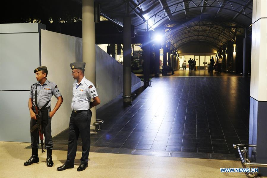 Soldiers stand guard at the Bandaranaike International Airport in Colombo, Sri Lanka, April 22, 2019. The death toll from the multiple blasts that ripped through Sri Lanka on Sunday rose to 228 while 450 others were injured, local media quoting hospital sources said. (Xinhua/Wang Shen)
