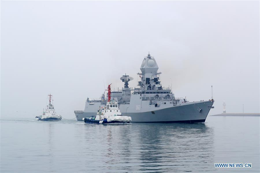 Indian navy\'s destroyer INS Kolkata arrives in the port city of Qingdao, east China\'s Shandong Province, April, 21, 2019, to join multinational naval events commemorating the 70th anniversary of the founding of the Chinese People\'s Liberation Army (PLA) Navy. The events will be held between April 22 and 25 and a naval parade will be held in Qingdao and nearby sea areas and airspace on April 23. (Xinhua/Ju Zhenhua)