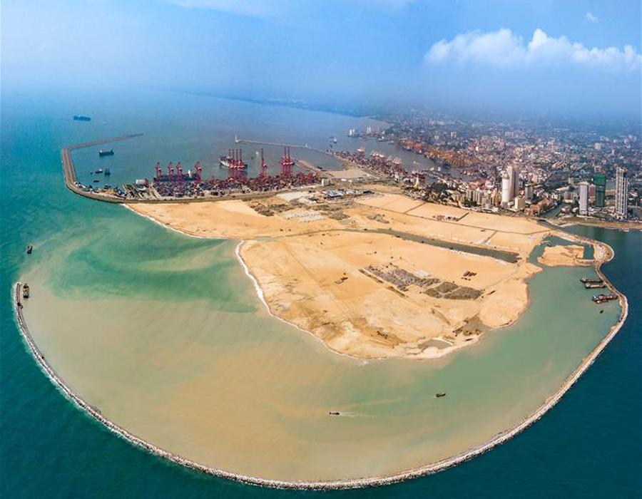 The Colombo Port City is seen under construction in Colombo, Sri Lanka on April 22, 2018. (Photo/Xinhua)