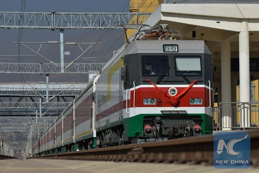 <?php echo strip_tags(addslashes(A photo taken on Jan 1, 2018 shows a train at the Lebu station in Addis Ababa, capital of Ethiopia. The Chinese-built 756-kilometer electrified rail project connecting landlocked Ethiopia to Djibouti officially started commercial operations on Jan 1, 2018. (Photo/Xinhua)